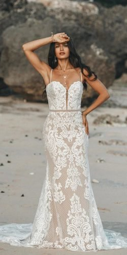 sexy wedding dresses ideas sheath with spaghetti straps lace beach gc bridal couture