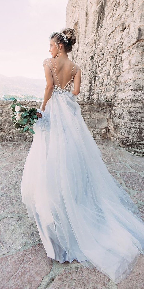 backless wedding dresses a line blue with cape sleeves train piondress