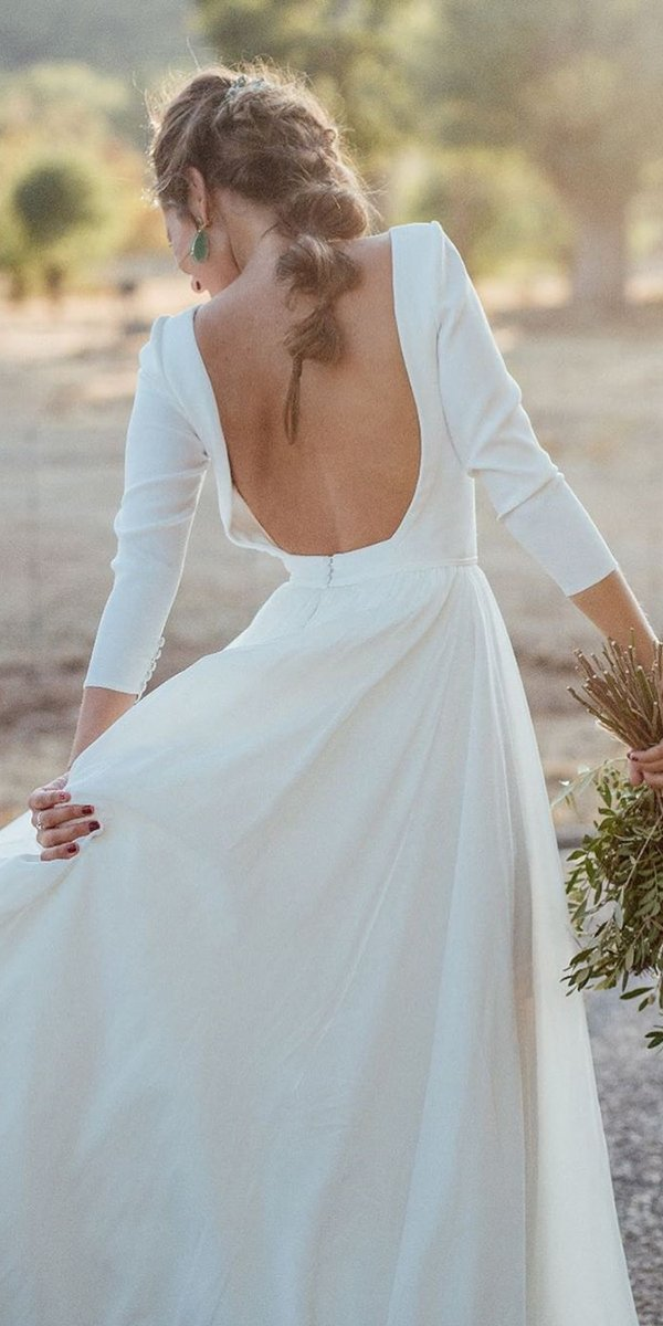 backless wedding dresses a line with long sleeves simple kiwo estudio