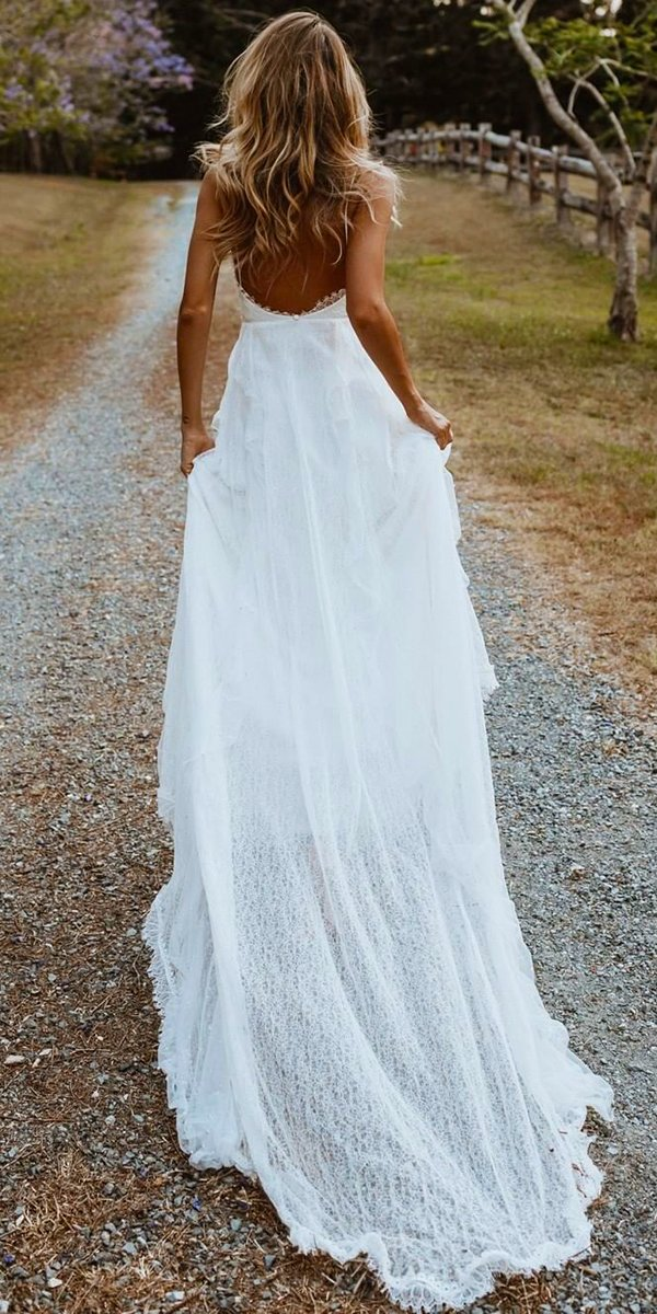 backless wedding dresses a line with spaghetti straps with train rustic grace loves lace