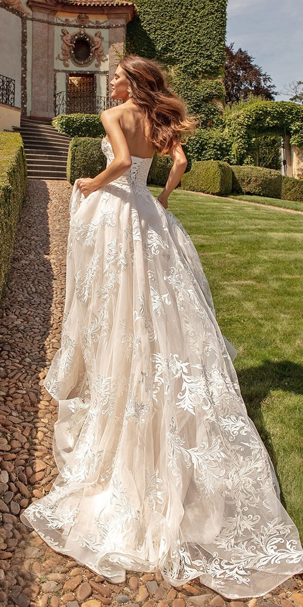 backless wedding dresses princess low back with train ariamo