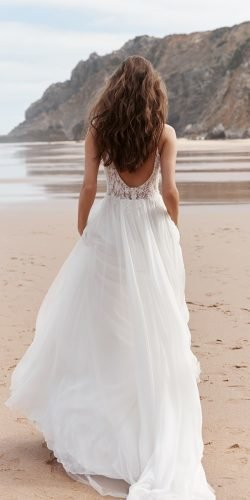 beach wedding dresses a line with spaghetti straps backless anna kara
