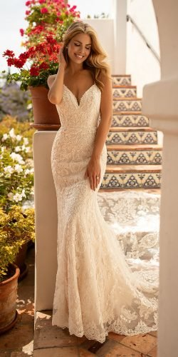 beach wedding dresses mermaid with straps lace beaded detail moonlight