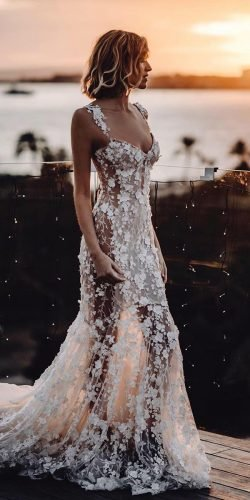 beach wedding dresses sheath floral appliques sweetheart neckline galia lahav