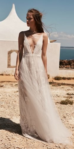 best wedding dresses a line deep v neckline flowy beach anna kara