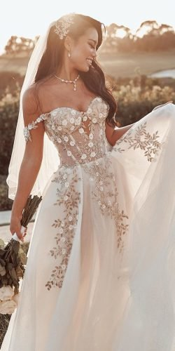 best wedding dresses a line off the shoulder sweetheart strapless neckline floral galialahav