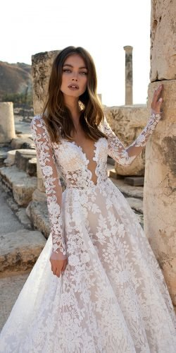 best wedding dresses a line with long sleeves lace pnina tornai