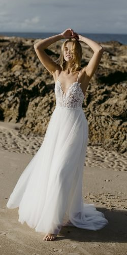 best wedding dresses a line with spaghetti straps lace top beach made with love