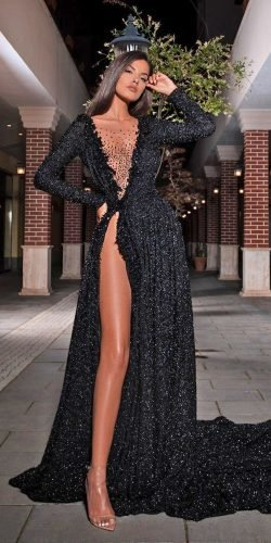 black wedding dresses a line with long sleeves illusion neckline albinadylaofficial