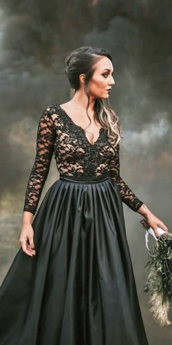 black wedding dresses a line with long sleves lace top v neckline meagankellydesigns