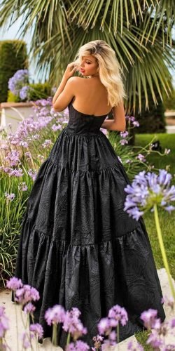 black wedding dresses ball gown low back country tarikediz
