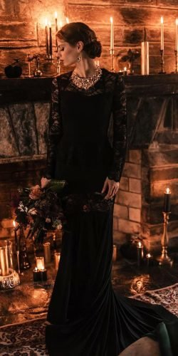 black wedding dresses sheath with long sleeves gothic victorian meagankellydesigns