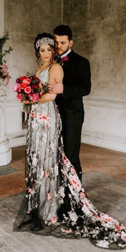 black wedding dresses sheath with white floral train claire peibone