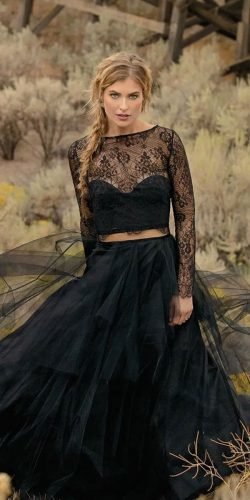 black wedding dresses with long sleeves lace top ruffled skirt elizabeth dye