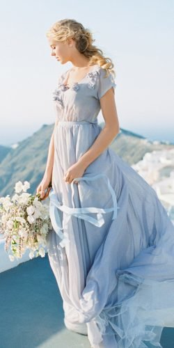 blue wedding dresses a line simple with cap sleeves cathy telle