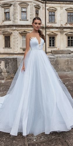 blue wedding dresses a linestrapless sweetheart neckline light color ari villoso