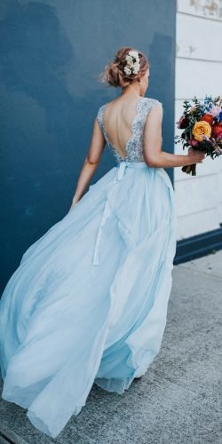 blue wedding dress with V back lace bodice