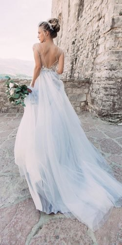 blue wedding dresses a line v back with cape sleeves piondress