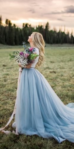 blue wedding dresses ball gown with long sleeves country olive avenue photo