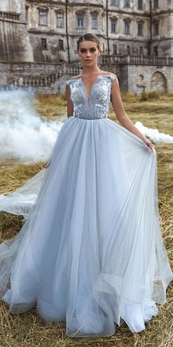 blue wedding dresses princess straples neckline sequins ari villoso