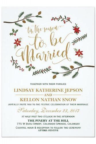 christmas wedding ideas Festive Holiday Christmas Wedding Invitation
