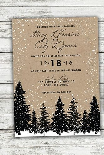 christmas wedding ideas Winter trees inspired wedding invitations