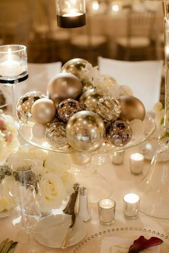 christmas-wedding ideas wedding centerpiece with silver bowls