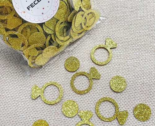 engagement party decorations gold ring and circle confetti