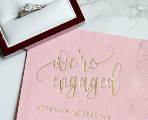 engagement party decorations personalized napkins we are engaged
