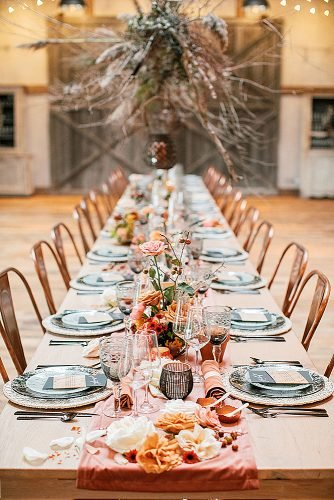fall wedding party boho and black tie fall wedding theme