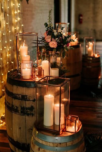 fall wedding party moody wedding decor candles flowers