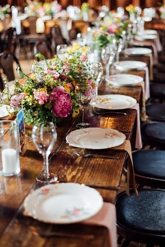 fall wedding party rustic wedding tablescapes mismatched china