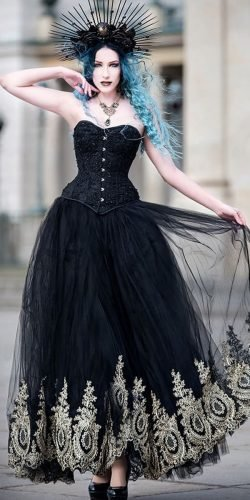 gothic wedding dresses a line strapless neckline gold lace black devilnightuk