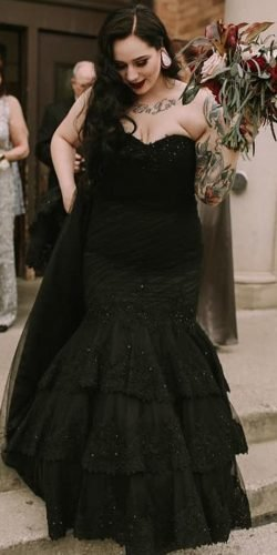 gothic wedding dresses mermaid strapless neckline lace black tova marc