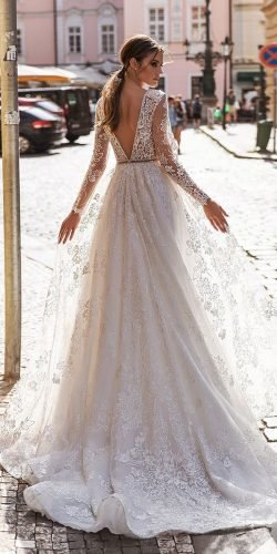 long sleeve wedding dresses a line v back delicate lace katycorso