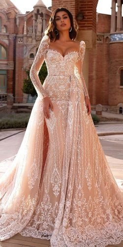 long sleeve wedding dresses sheath sweetheart neckline with overskirt lace blush tina valerdi
