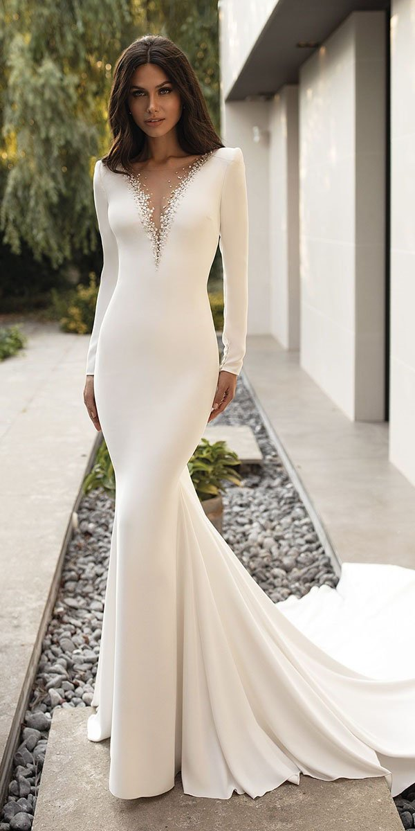 mermaid wedding dresses simple illusion plunging neckline pronovias