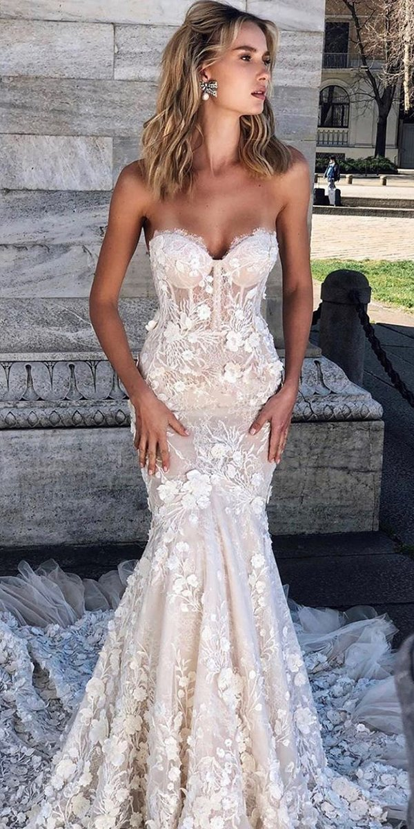 mermaid wedding dresses sweetheart strapless neckline floral lace berta