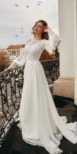 modest wedding dresses a line with long sleeves country ligiamocan