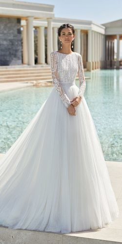 modest wedding dresses ball gown with long sleeves lace top rosa clara