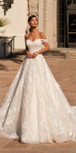 moonlight wedding dresses a line off the shoulder lace with train