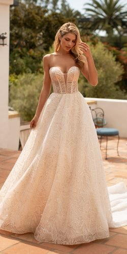 moonlight wedding dresses a line strapless sweetheart neckline train and glistens 2020