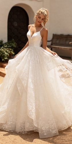 moonligh wedding dresses ball gown sweetheart neckline off the shoulder lace 2020
