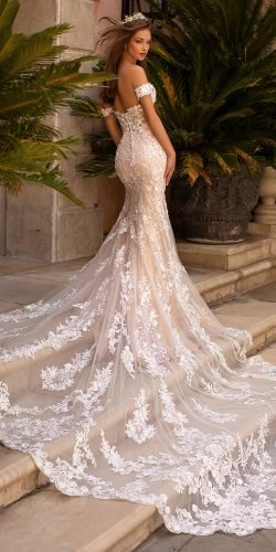 moonlight wedding dresses trumpet off the shoulder lace with long train sexy beach 2020