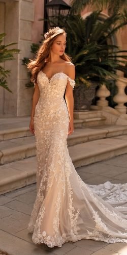 moonlight wedding dresses trumpet sweetheart neckline lace off the shoulder lace floral appliques