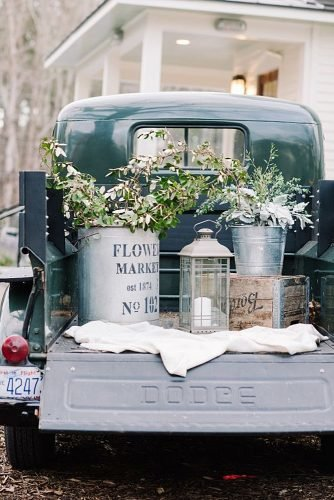outdoor wedding ideas decor truck with greenery