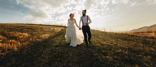 outdoor wedding ideas newlyweds happy at the nature
