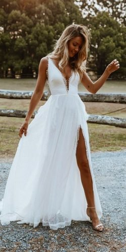 rustic wedding dresses a line with spaghetti straps plunging neckline grace loves lace