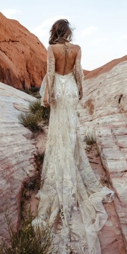 rustic wedding dresses sheath with long sleeves backless train ruedeseine