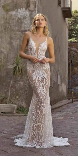 sexy wedding dresses ideas sheath unique lace nude with straps berta
